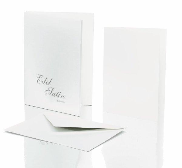 Edel Satin- Kartenmappe 8/8, DIN A6 hd/C6, weiß glatt
