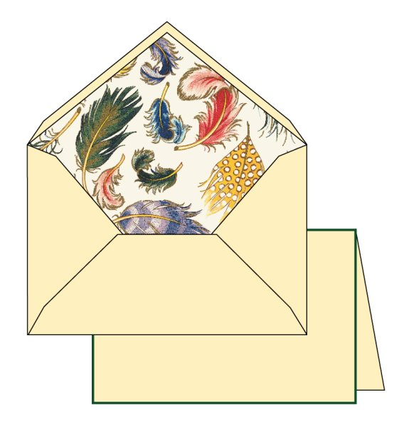 Kartenpackung 10/10 Federn gold 10,5x16 cm